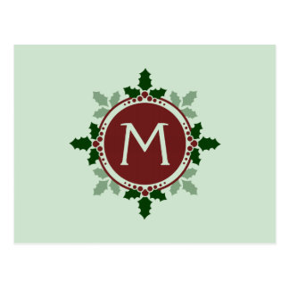 Holly Leaves Monogram Green Red Christmas Holidays Postcard