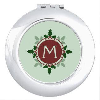 Holly Leaves Monogram Green Red Christmas Holidays Vanity Mirror