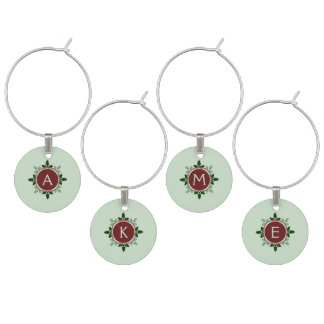 Holly Leaves Monogram Green Red Christmas Holidays Wine Charms