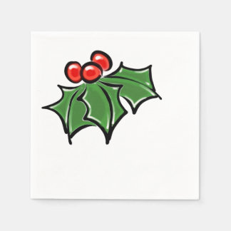 Holly Leaves Paper Napkins