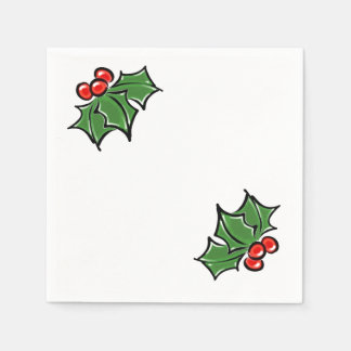 Holly Leaves Paper Serviettes