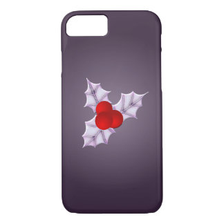 Holly Leaves Purple Glow Christmas iPhone 8 Case