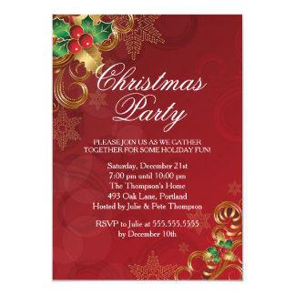 """Holly Leaves Red Christmas Party Invitation 5"""" X 7"""" Invitation Card"""