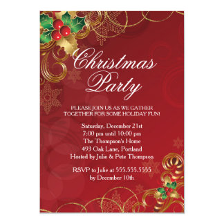 Holly Leaves Red Christmas Party Invitation