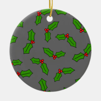 Holly Leaves Round Ceramic Decoration