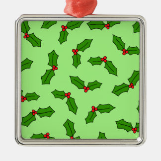 Holly Leaves Silver-Colored Square Decoration