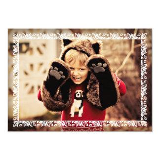 Holly Leaves White Border Christmas Photo Greeting 13 Cm X 18 Cm Invitation Card