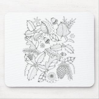 Holly Line Art Design Mouse Pad