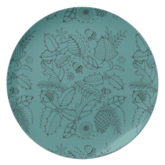 Holly Line Art Design Plate