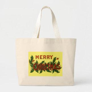 Holly Merry Christmas Jumbo Tote Bag