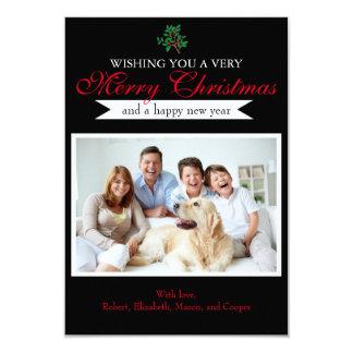 """Holly """"Merry Christmas"""" Photo - 3x5 Christmas Card"""