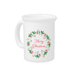 Holly & Mistletoe Merry Christmas Holiday Pitcher