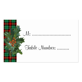 Holly on Red Green Plaid Custom Table Cards Double-Sided Standard Business Cards (Pack Of 100)