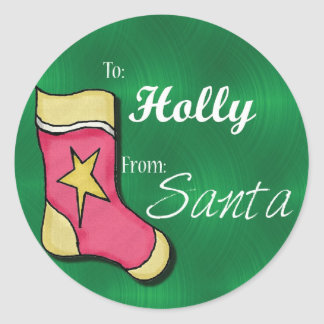 Holly Personalised Stocking Labels Round Sticker