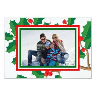 Holly Photo - 3x5 Christmas Card
