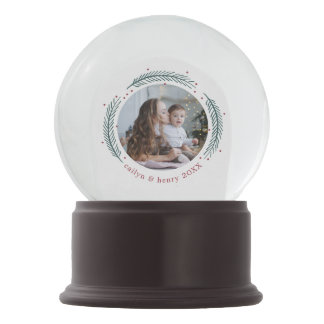 Holly & Pine Personalized Holiday Photo Snow Globe