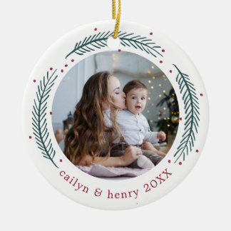 Holly & Pine Photo Ceramic Ornament