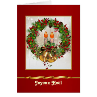 Holly pine wreath, candles, bells French Christmas Card