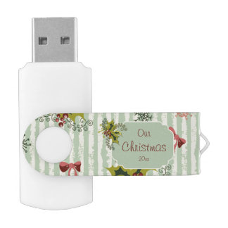 Holly, Pink Bows and Aqua Stripes Swivel USB 2.0 Flash Drive