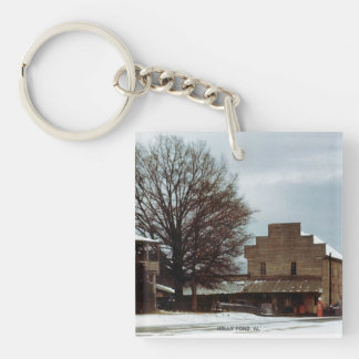 Holly Pond, Alabama 1950's Snow (Keychain) Single-Sided Square Acrylic Key Ring