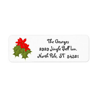 Holly, Red Berries, Red Poinsettia Winter Holidays Return Address Label