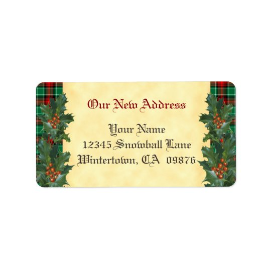 Holly Red Green Plaid Holiday Custom New Address Label