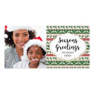 Holly Reindeer Seasons Greetings Photo Card