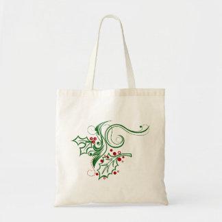 Holly Ribbons Budget Tote Bag