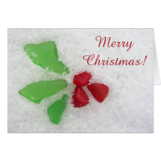 Holly Sea Glass on Snow - Christian/Catholic Card