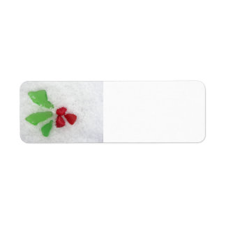"""Holly"" Sea Glass on Snow Return Address Label"