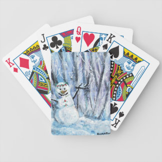 Holly Snowman Bicycle Playing Cards