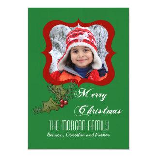 Holly Square Photo Card 13 Cm X 18 Cm Invitation Card