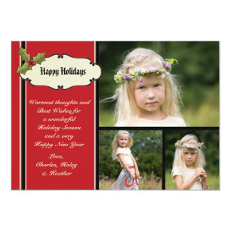 Holly Trimmed - Photo Holiday Card 13 Cm X 18 Cm Invitation Card