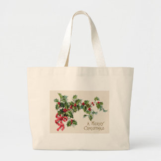 Holly Winterberry Red Ribbon Jumbo Tote Bag