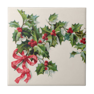 Holly Winterberry Red Ribbon Tile