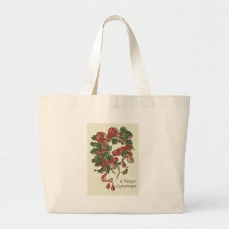 Holly Wishbone Red Ribbon Winterberry Jumbo Tote Bag