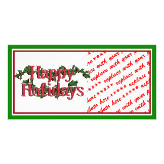 Holly with Berries & Text Photo Greeting Card