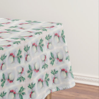 Holly with Bow Pastel Block Pattern Christmas Tablecloth