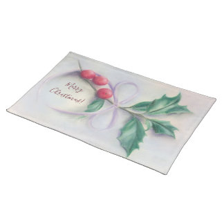 Holly with Bow Pastel Merry Christmas Placemat