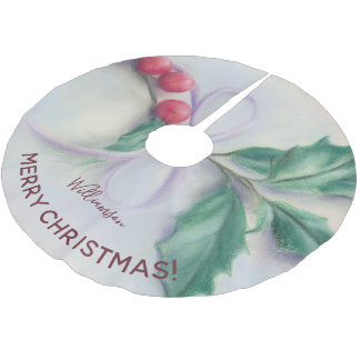Holly with Bow Pastel Personalized Merry Christmas Brushed Polyester Tree Skirt