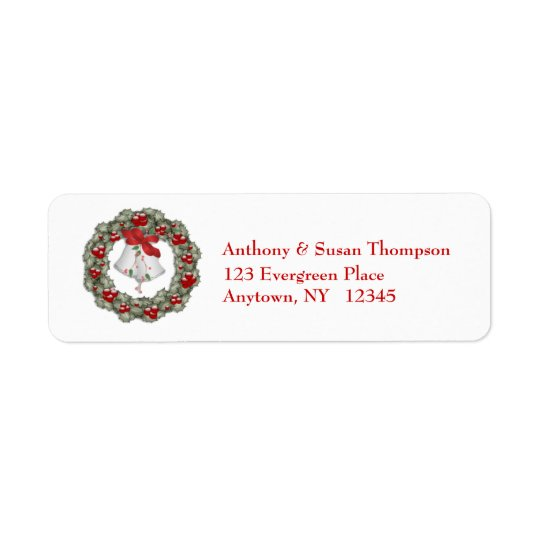 Holly Wreath Address Label