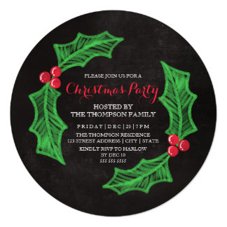 Holly Wreath Chalkboard Christmas Party 13 Cm X 13 Cm Square Invitation Card
