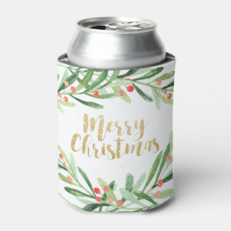 Holly Wreath Christmas Can Cooler
