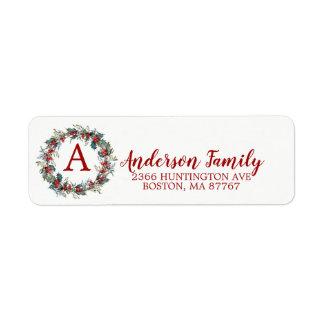 Holly Wreath Christmas Monogram Address Label