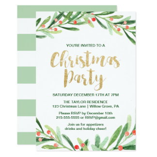 Holly Wreath Christmas Party Card