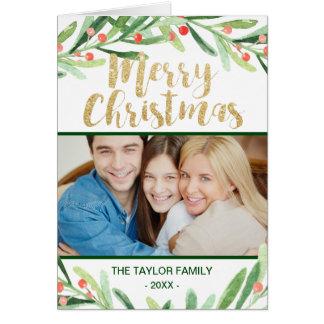 Holly Wreath Christmas Photo Card