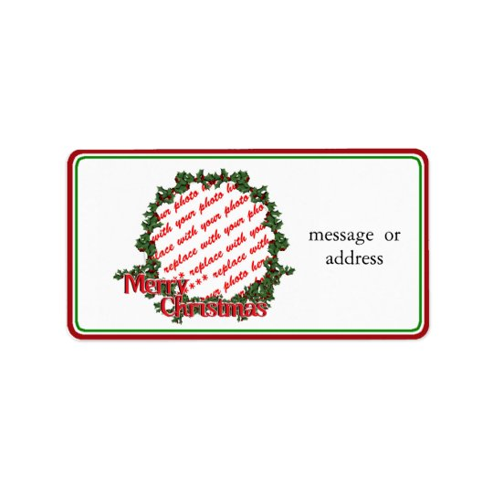 Holly Wreath Circle Photo Frame Address Label