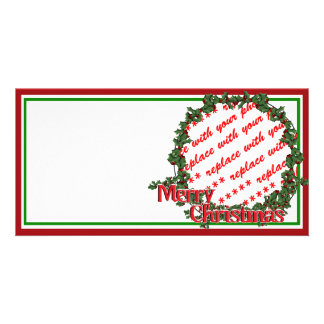 Holly Wreath Circle Photo Frame Picture Card