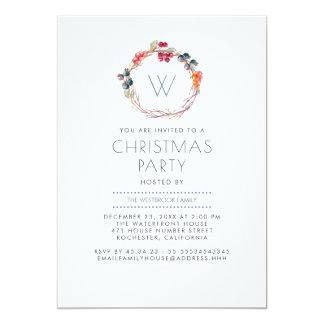 Holly Wreath Family Christmas Party Card