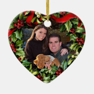 Holly Wreath Heart Photo Personalized Ornament
